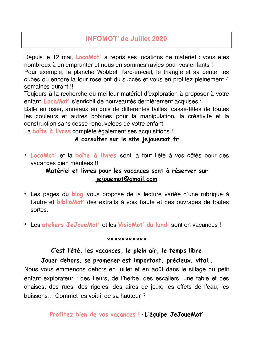 InfoMot' de Juillet